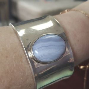 Stunning sterling silver cuff with blue lace agate